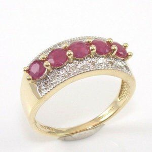Solid 14K Gold Ruby Diamond Ring Size 7.5